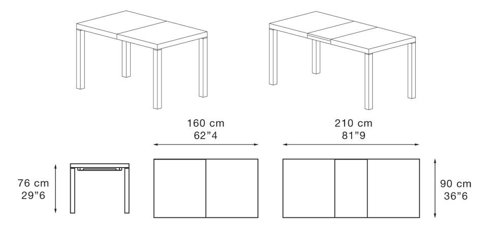Dimenzije jedilne mize Caleido