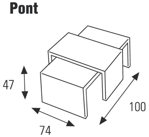 Dimenzije klubske mizice Pont