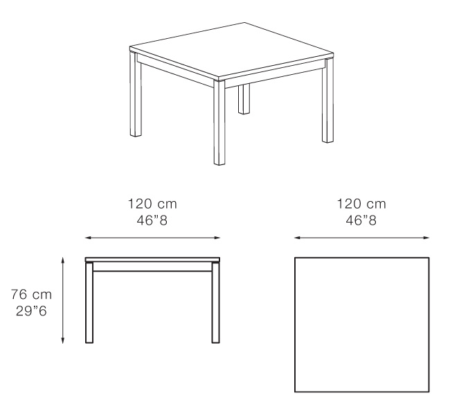 Dimenzije jedilne mize Sabah 120