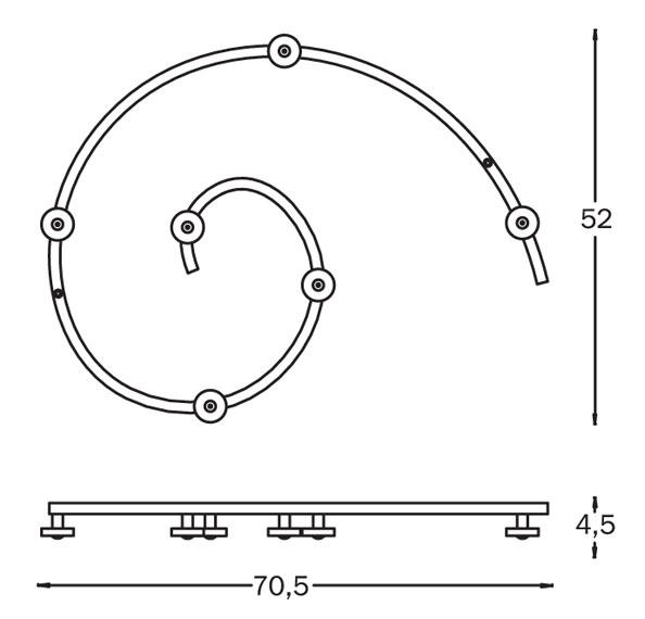 Stenski obešalnik Tattakki: dimenzije