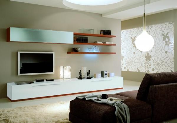 Dnevna soba stenski sestav MitoBox Q10131, lakiran bel, 360 x 60
