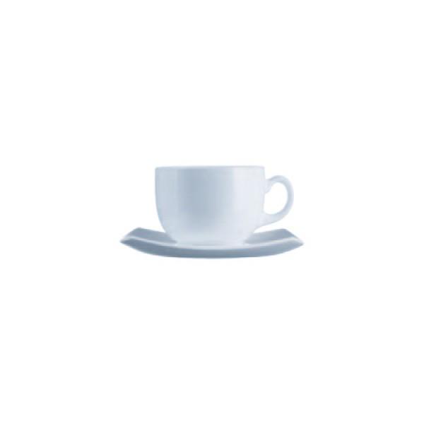 Skodelice za kavo Quadrato Bela 22cl (6x skodelica in krožnik)