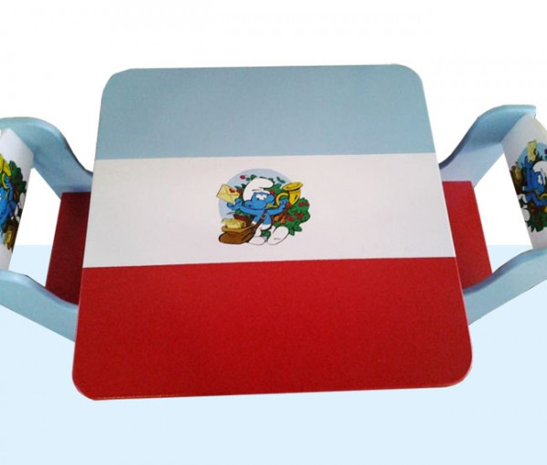 Otroška mizica in stolčka Smrkci (rdečo-modra)