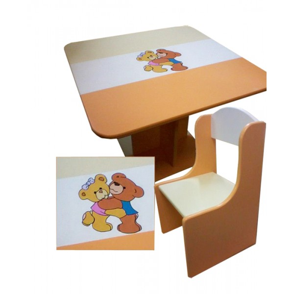 Otroška mizica in stolčka MEDVEDKA (oranžno-bež)