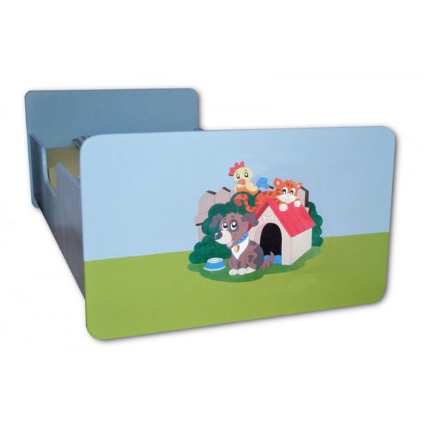 Otroška postelja ŽIVALI (modro-zelena)