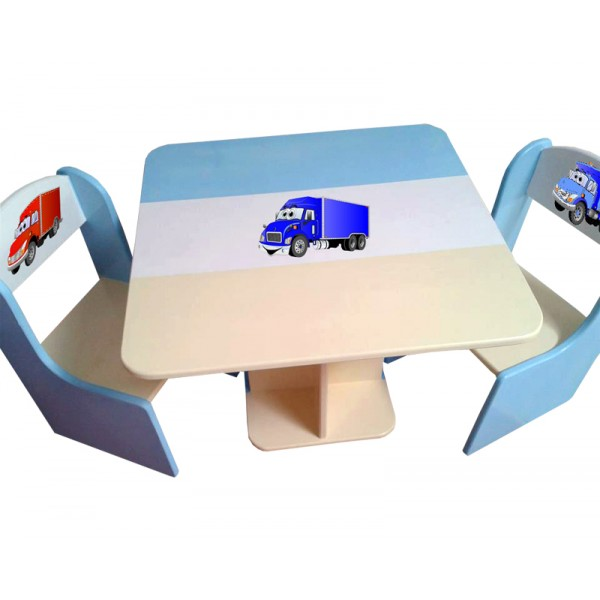 Otroška mizica in stolčka TOVORNJAK (modra-bež)