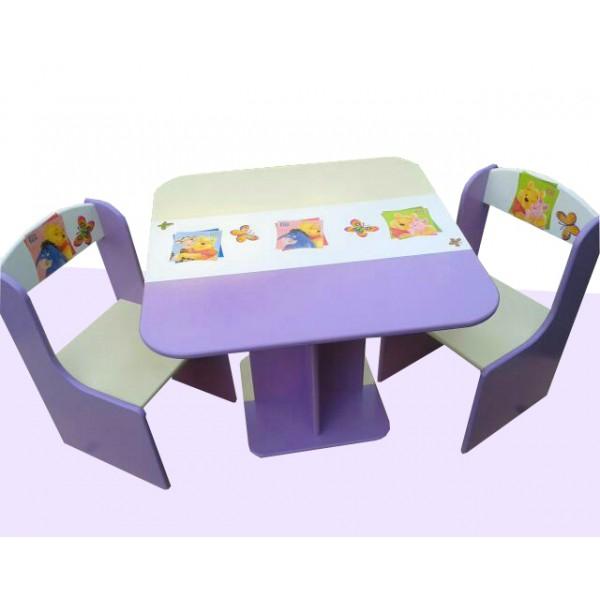 Otroška mizica in stolčka Medvedek Pu (vijolična-bež)