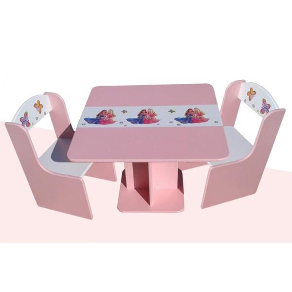 Otroška mizica in stolčka Princeski (belo-roza)