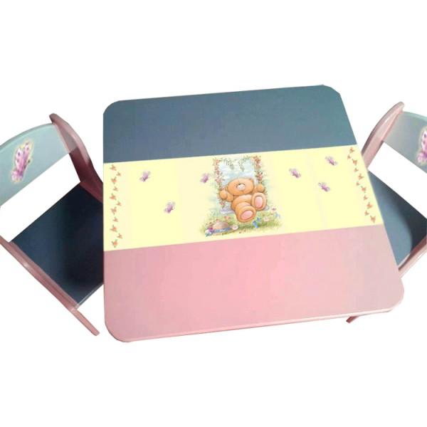 Otroška mizica in stolčka MEDVEDEK (sivo-roza-rumena)