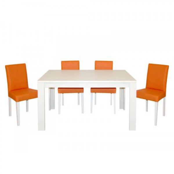 Jedilnica KIRA belo-oranžna (4 stoli + raztegljiva miza)