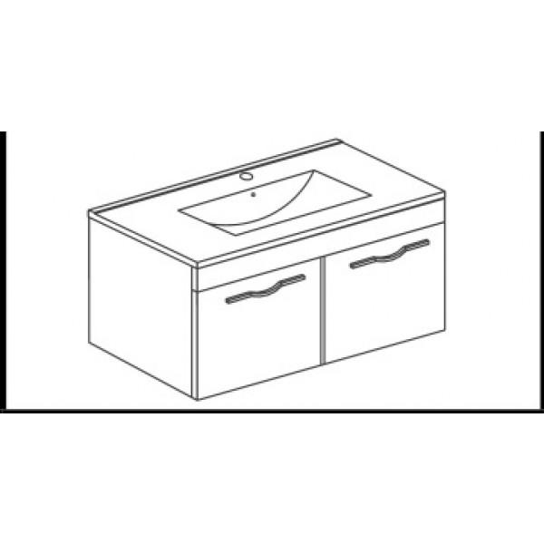 Omarica z dvojimi vrati in umivalnikom CORALLO - 60 cm - hrast
