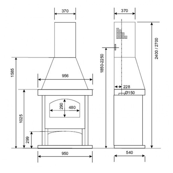 Samostoječi kamin Supra ÉLODIE 4 (dimenzije so v milimetrih)