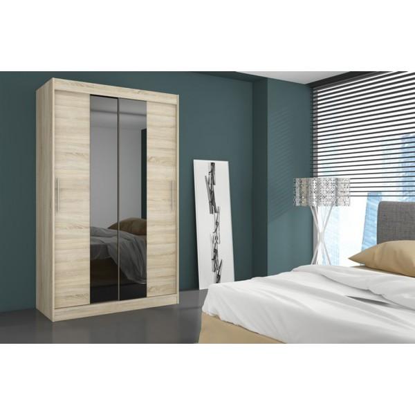 Garderobna omara z drsnimi vrati Dallas (180 cm)-Sonoma hrast (RAZPRODAJA)