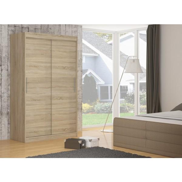 Garderobna omara z drsnimi vrati Denver (150 cm)-Sonoma hrast (RAZPRODAJA)
