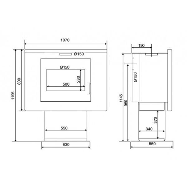 Kaminska peč Supra HAVOK - alu (dimenzije so v milimetrih)