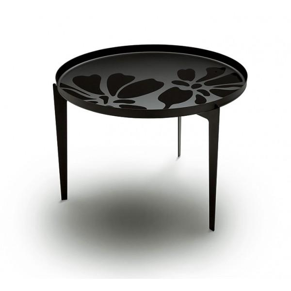 Klubska mizica Illusion velika, črne barve z vzorcem