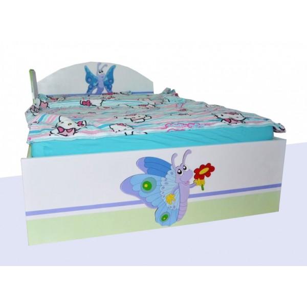 Otroška postelja METULJA (zeleno-bela)