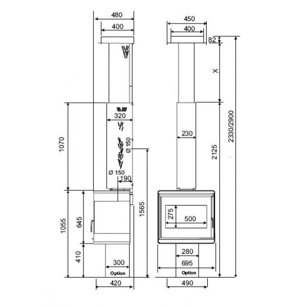 Viseči kamin Supra MICHIGAN (dimenzije so v milimetrih)