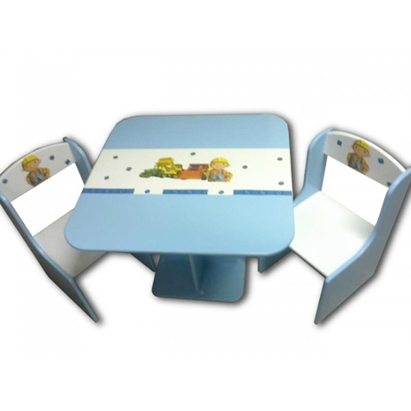 Otroška mizica in stolčka Mojster Miha (modro-bela)