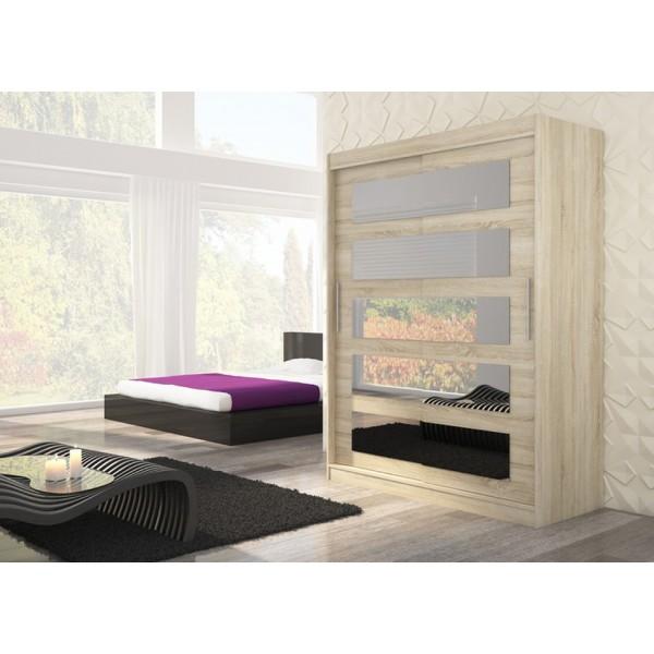 Garderobna omara z drsnimi vrati Murani (150 cm)-Sonoma hrast (RAZPRODAJA)