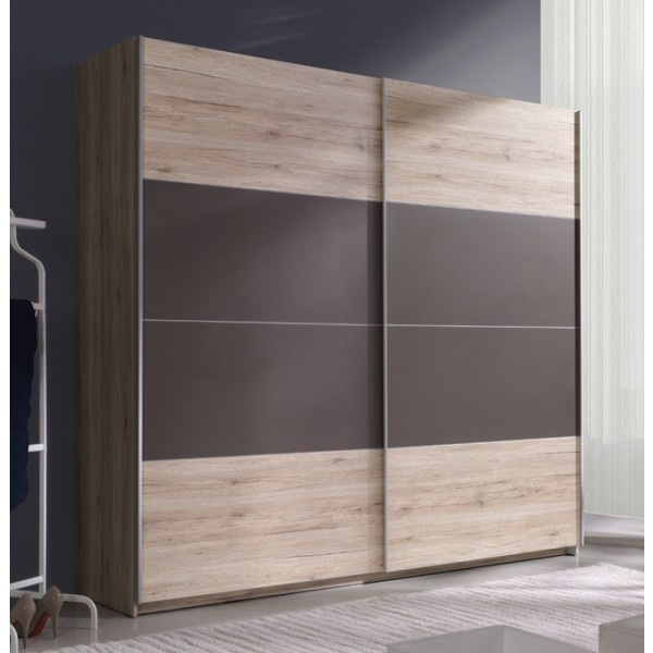 Garderobna omara z drsnimi vrati Beta (svetla San Remo-rjava)-220 - AKCIJA
