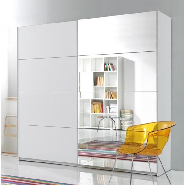Garderobna omara z drsnimi vrati in ogledalom Beta - RAZPRODAJA (bela, 220)