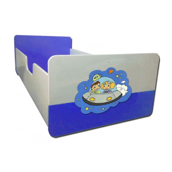 Otroška postelja VESOLJČKI (belo-modra)