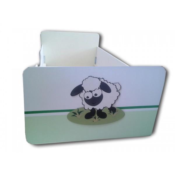 Otroška posteljica OVČKA (bela-zelena)