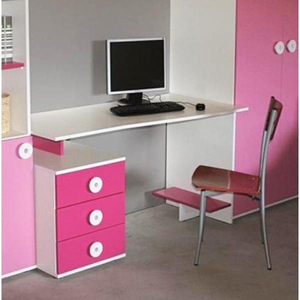 Pisalna miza s predalnikom - roza