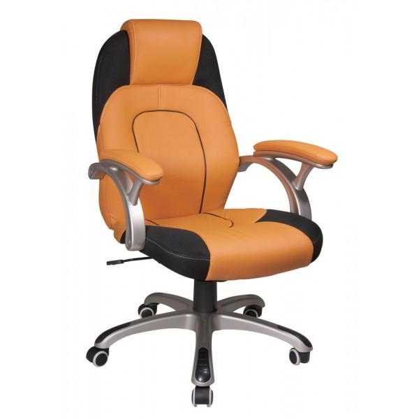Pisarniški stol K-8328 (oranžno-črno umetno usnje)