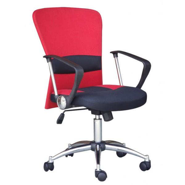 Pisarniški stol K-9005 (rdeče-črno umetno usnje)