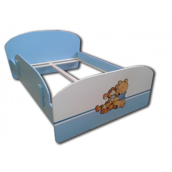 Otroška posteljica MEDVEDEK PU S TIGRČKOM (belo-modra)