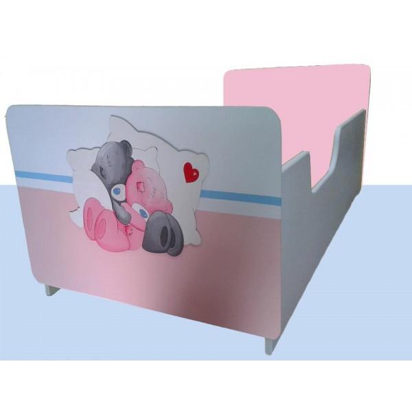 Otroška posteljica MEDVEDKA (belo-roza)