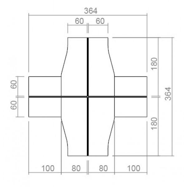 Set pisarniških miz s pregradami in predalniki TK07-5