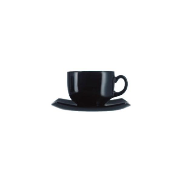 Skodelice za kavo Quadrato Črna 22cl (6x skodelica in krožnik)