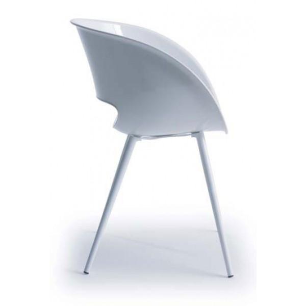 Stol naslonjač Eye Space bela barva od strani