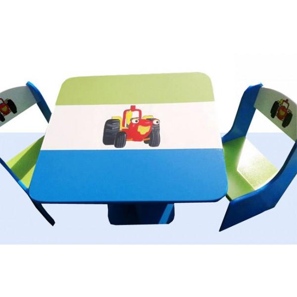 Otroška mizica in stolčka traktor (zeleno-modra)