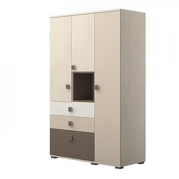 Garderobna omara TRIO Z OSVETLITVIJO -Rjava kombinacija