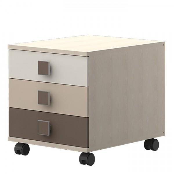 Nočna omarica TRIO -Rjava kombinacija