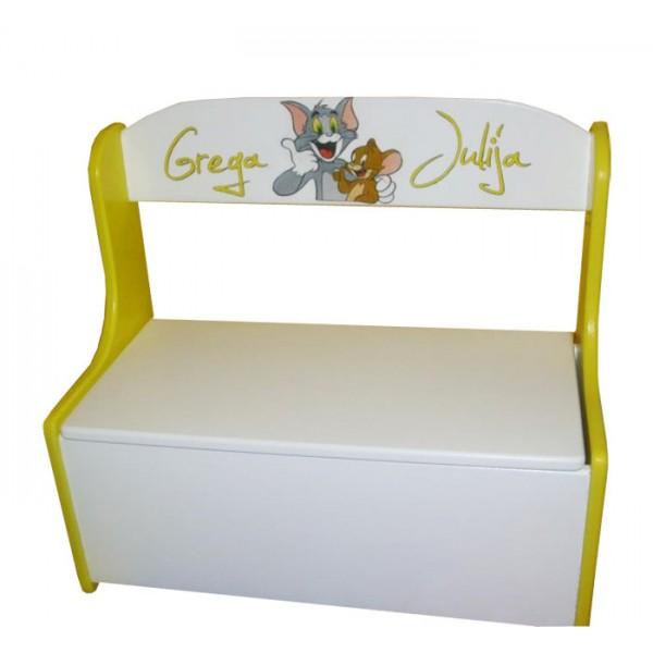 Klopica in zaboj za igrače Tom in Jerry (rumeno-bela)