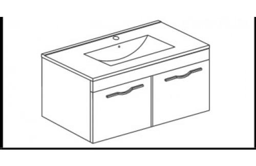 Omarica z dvojimi vrati in umivalnikom CORALLO - 60 cm - beli hrast