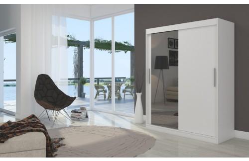Garderobna omara z drsnimi vrati Bianco (150 cm)