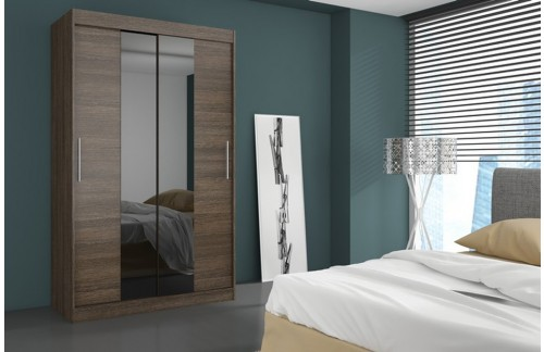 Garderobna omara z drsnimi vrati Dallas (180 cm)-Čokoladno rjava