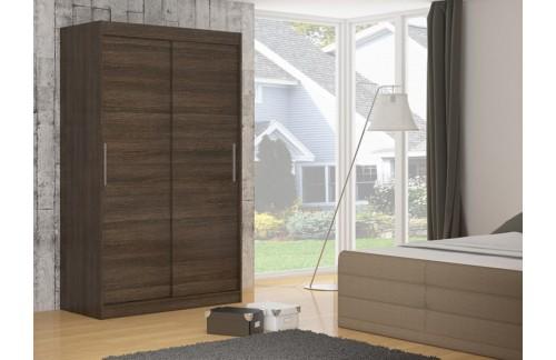 Garderobna omara z drsnimi vrati Denver (150 cm)-Čokoladno rjava