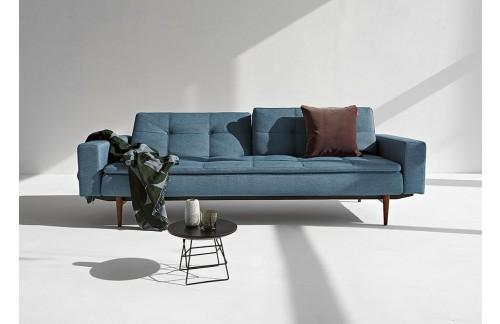 Kavč DUBLEXO SOFA BED z rokonasloni in s temno stileto lesenimi nogicami