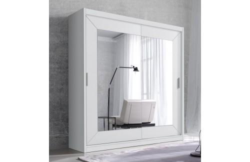 Garderobna omara z drsnimi vrati in ogledalom Alfa (bela)