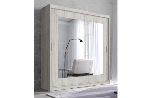 Garderobna omara z drsnimi vrati in ogledalom Alfa (bor bela)
