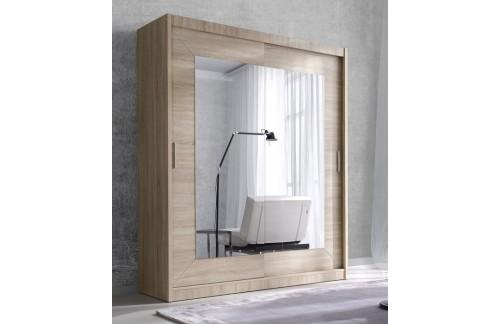 Garderobna omara z drsnimi vrati in ogledalom Alfa (svetla sonoma hrast) - 150 cm