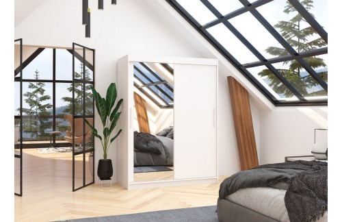 Garderobna omara z drsnimi vrati Bianco (150 cm)-Bela