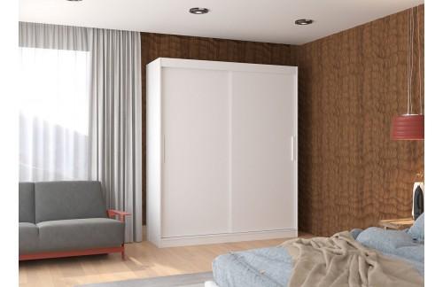 Garderobna omara z drsnimi vrati Lincoln (180 cm)-Bela